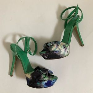 GUESS Satin & Patent Leather Strappy Platforms